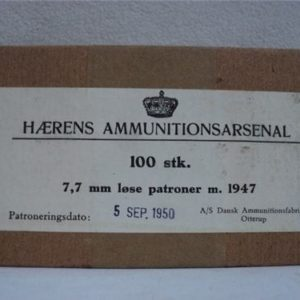 303 British wood tip blanks, 100 round box marked HAERENS Ammunition arsenal.