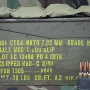308 Military ball ammo in 8rd clips. 336 round can