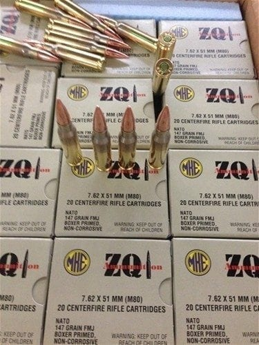 7.62X51 ZQI M80 Ball FMJ 147 Grain Nato Spec Boxer Primed 640 Rd Case