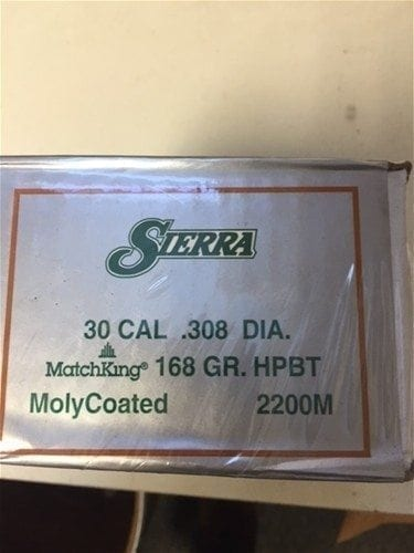 Sierra 30 Cal 168gr HPBT Moly-coated Bullets 100 per box