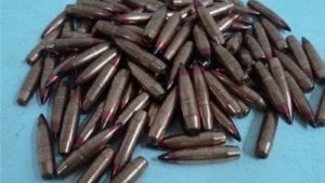 .310 Diameter 156 grain black and red tip API projectiles. 100 projectile pack.
