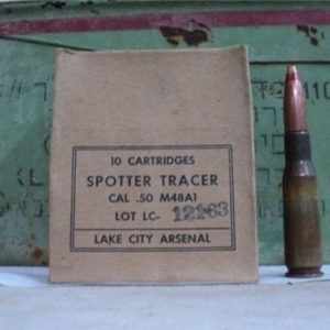 50 cal spotter tracer ammo, M-48-A1, 110 round can.