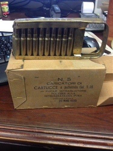 7.35 carcano ammo in 100 round collectors box.