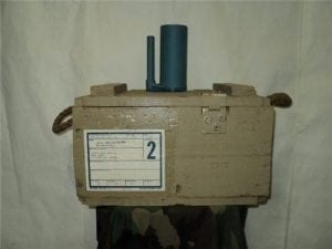 Bouncing Betty inert anti personnel training mines, small type, wood crate of 6 mines
