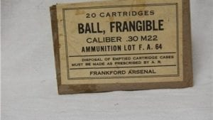 30-06 U.S. Frangible ammo. WW II 20 round box