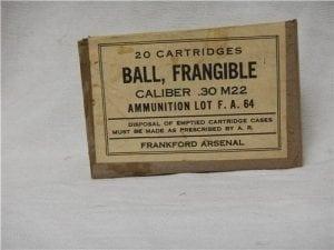 30-06 U.S. Frangible ammo. WW II 20 round box