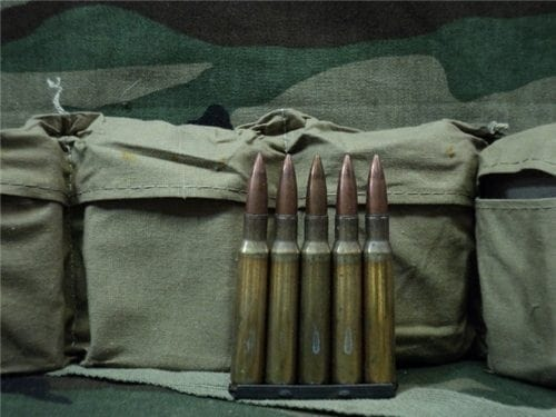 30-06 U.S. WWII ball ammo in bandoleers. 60 round bandoleer with stripper clips.