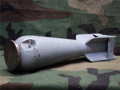 3lbs Inert bomblet for training, includes 50 ea. 30-06 grenade launch blanks.