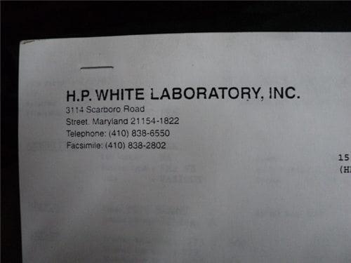 H.P. White loading data for Rad-78L powder.