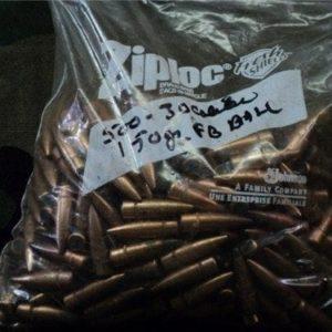 30 caliber 150 grain flat base ball bullets. 500 projectile pack