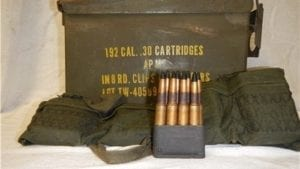30-06 AP-M2 Korean war, non corrosive AP ammo. 192 round in garand clips and original can.