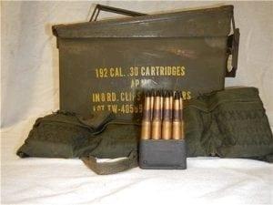 30-06 AP-M2 Korean war, non corrosive AP ammo. 192 round in garand clips and original can.