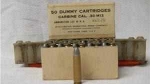 30 carbine dummy rounds in original 50 round box.