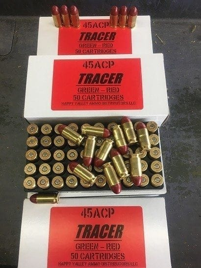 45 ACP green to red tracer ammo