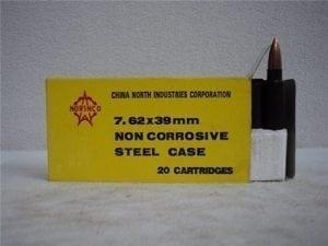 7.62×39 ball ammo Norinco Steel core pre 1986. . 20 round box.