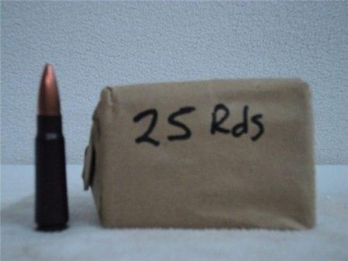 7.62×39 FMJ Ball ammo German steel core pre-1986 . 25 round box.