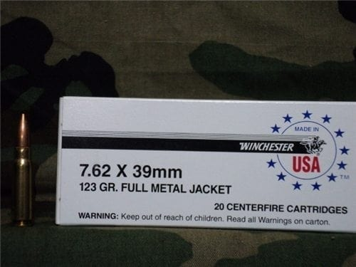 7.62×39 winchester ball ammo. Reloadable. 20 round box.