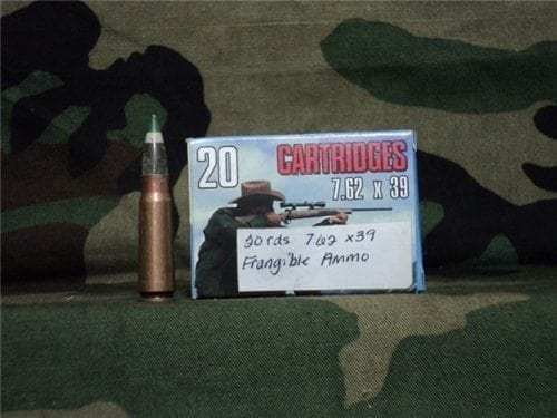 7.62×39 frangible ammo. 20 round box.