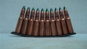 7.62×39 Original green tracer ammo on 10 rd stripper clip.