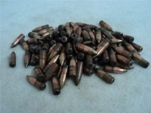 7.62×39 Green tracer projectiles, May not trace without proper load. 100 projectile bag.