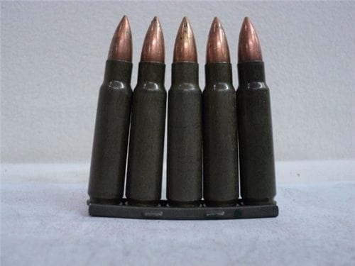 7.62×45 Green tracer ammo in 5 round clip. Price includes one clip and five rounds.