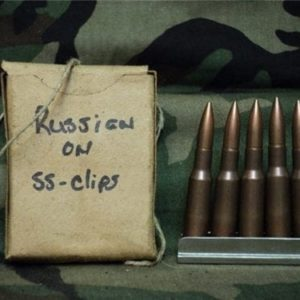 7.62x54R Russian Ball ammo 15rd boxes on stainless steel stripper clips.