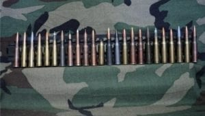 7.62x54R 24 Round Machine gun tray with collectors ammo assortment.