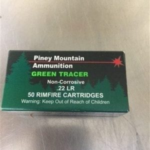 22 LR Green tracer Ammo. 50 round box