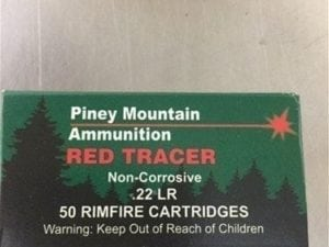 22 LR Red tracer Ammo. 50 round box
