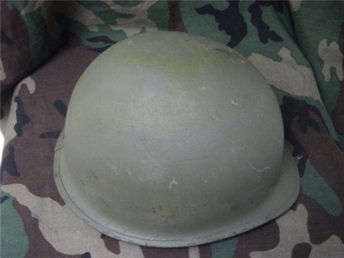 WW-2 OR VIETNAM HELMETS, AS-IS, REPAINTED.