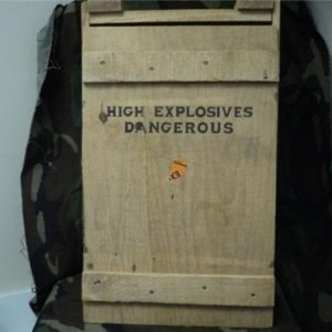 EMPTY WOOD COMP-B MILITARY EXPLOSIVE BOX. (EMPTY)