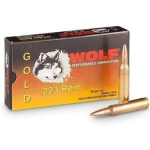 223/556 WOLF GOLD BRASS CASED BOXER PRIMED 55GR FMJ 1000 Round Case