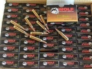 223/556 WOLF GOLD BRASS CASED BOXER PRIMED 55GR FMJ 1000 Round Case