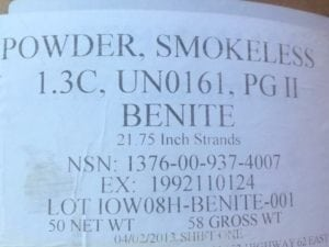 Benite Smokeless Powder. 12 lbs box.
