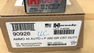 200/500 Round Case – 45 Auto 220 grain +P Hornady Critical Duty Ammo