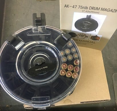 AK-47 75 Round Drum Magazine with Clear Back Mfg by KCI
