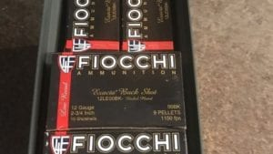 12 Gauge Fiocchi Low Recoil 00BK. 100 round ammo box